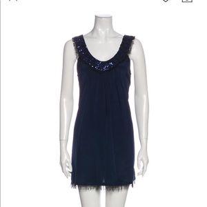 Alice + Olivia Navy Sequin Scoop Neck Dress